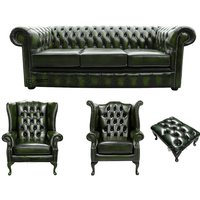 Chesterfield 3 Seater Sofa + 1 x Mallory Wing Chair + 1 x Queen Anne Wing Chair+footstool Leather Sofa Suite Offer Antique Green - DESIGNER SOFAS 4 U