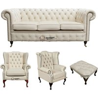Chesterfield 3 Seater Sofa + 1 x Mallory Wing Chair + 1 x Queen Anne Wing Chair+footstool Leather Sofa Suite Offer Ivory - DESIGNER SOFAS 4 U