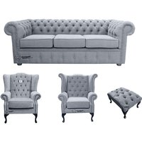 Chesterfield 3 Seater Sofa + 1 x Mallory Wing Chair + 1 x Queen Anne Wing Chair + Footstool Verity Plain Steel Fabric Sofa Suite Offer