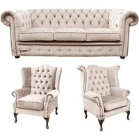 Designer Sofas 4 U - Chesterfield 3 Seater Sofa + 1 x Mallory Wing Chair + 1 x Queen Anne Wing Chair Harmony Ivory Velvet Sofa Suite Offer