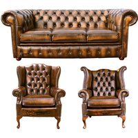 Chesterfield 3 Seater Sofa + 1 x Mallory Wing Chair + 1 x Queen Anne Wing Chair Leather Sofa Suite Offer Antique Gold
