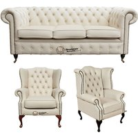 Designer Sofas 4 U - Chesterfield 3 Seater Sofa + 1 x Mallory Wing Chair + 1 x Queen Anne Wing Chair Leather Sofa Suite Offer Ivory