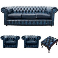 Chesterfield 3 Seater Sofa + 2 x Club Chairs + Footstool Leather Sofa Suite Offer Antique blue - DESIGNER SOFAS 4 U