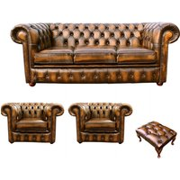 Designer Sofas 4 U - Chesterfield 3 Seater Sofa + 2 x Club Chairs + Footstool Leather Sofa Suite Offer Antique Gold
