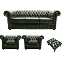Chesterfield 3 Seater Sofa + 2 x Club Chairs + Footstool Leather Sofa Suite Offer Antique Green - DESIGNER SOFAS 4 U