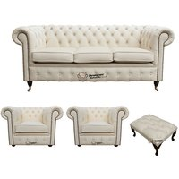 Chesterfield 3 Seater Sofa + 2 x Club Chairs + Footstool Leather Sofa Suite Offer Ivory - DESIGNER SOFAS 4 U