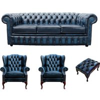 Chesterfield 3 Seater Sofa + 2 x Mallory Wing Chair + Footstool Leather Sofa Suite Offer Antique Blue - DESIGNER SOFAS 4 U