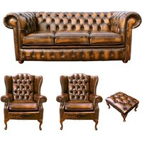 Designer Sofas 4 U - Chesterfield 3 Seater Sofa + 2 x Mallory Wing Chair + Footstool Leather Sofa Suite Offer Antique Gold