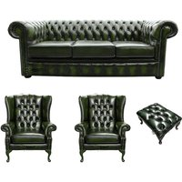 Chesterfield 3 Seater Sofa + 2 x Mallory Wing Chair + Footstool Leather Sofa Suite Offer Antique Green