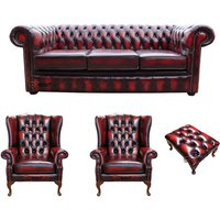 Designer Sofas 4 U - Chesterfield 3 Seater Sofa + 2 x Mallory Wing Chair + Footstool Leather Sofa Suite Offer Antique Oxblood