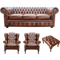 Designer Sofas 4 U - Chesterfield 3 Seater Sofa + 2 x Mallory Wing Chair + Footstool Leather Sofa Suite Offer Antique Tan