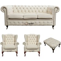 Chesterfield 3 Seater Sofa + 2 x Mallory Wing Chair + Footstool Leather Sofa Suite Offer Ivory - DESIGNER SOFAS 4 U