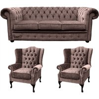 Designer Sofas 4 U - Chesterfield 3 Seater Sofa + 2 x Mallory Wing Chair Harmony Charcoal Velvet Sofa Suite Offer
