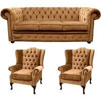 Designer Sofas 4 U - Chesterfield 3 Seater Sofa + 2 x Mallory Wing Chair Harmony Gold Velvet Sofa Suite Offer