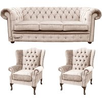 Designer Sofas 4 U - Chesterfield 3 Seater Sofa + 2 x Mallory Wing Chair Harmony Ivory Velvet Sofa Suite Offer