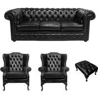 Designer Sofas 4 U - Chesterfield 3 Seater Sofa + 2 x Mallory Wing Chairs + Footstool Old English Black Leather Sofa Offer