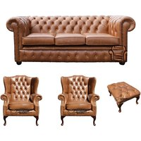 Chesterfield 3 Seater Sofa + 2 x Mallory Wing Chairs + Footstool Old English Tan Leather Sofa Offer - DESIGNER SOFAS 4 U