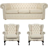 Chesterfield 3 Seater Sofa + 2 x Mallory Wing Chairs Leather Sofa Suite Offer Cottonseed Cream - DESIGNER SOFAS 4 U