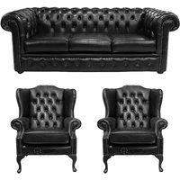 Designer Sofas 4 U - Chesterfield 3 Seater Sofa + 2 x Mallory Wing Chairs Old English Black Leather Sofa Offer