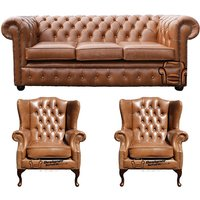 Chesterfield 3 Seater Sofa + 2 x Mallory Wing Chairs Old English Tan Leather Sofa Offer - DESIGNER SOFAS 4 U