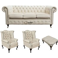 Chesterfield 3 Seater Sofa + 2 x Queen anne Chairs+footstool Leather Sofa Suite Offer Ivory - DESIGNER SOFAS 4 U