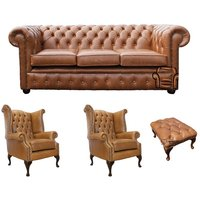 Chesterfield 3 Seater Sofa + 2 x Queen Anne Chairs + Footstool Old English Tan Leather Sofa Offer - DESIGNER SOFAS 4 U