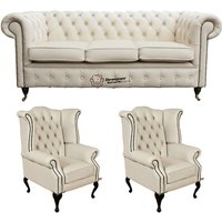 Chesterfield 3 Seater Sofa + 2 x Queen anne Chairs Leather Sofa Suite Offer Ivory - DESIGNER SOFAS 4 U