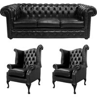 Designer Sofas 4 U - Chesterfield 3 Seater Sofa + 2 x Queen Anne Chairs Old English Black Leather Sofa Offer