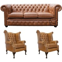 Chesterfield 3 Seater Sofa + 2 x Queen Anne Chairs Old English Tan Leather Sofa Offer - DESIGNER SOFAS 4 U