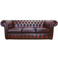 Chesterfield 3 Seater Sofa Bed Antique Oxblood leather