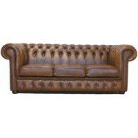 Designer Sofas 4 U - Chesterfield 3 Seater Sofa Bed Birch Antique Gold