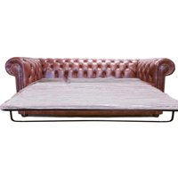 Chesterfield 3 Seater Sofa Bed Old English Chesnut - DESIGNER SOFAS 4 U