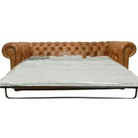 Chesterfield 3 Seater Sofa Bed Old English Tan - DESIGNER SOFAS 4 U