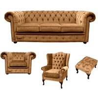 Designer Sofas 4 U - Chesterfield 3 Seater Sofa + Club Chair + Mallory Wing Chair+Footstool Harmony Gold Velvet Sofa Suite Offer