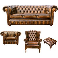 Designer Sofas 4 U - Chesterfield 3 Seater Sofa + Club Chair + Mallory Wing Chair + Footstool Leather Sofa Suite Offer Antique Gold
