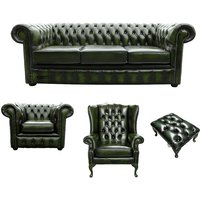 Chesterfield 3 Seater Sofa + Club Chair + Mallory Wing Chair + Footstool Leather Sofa Suite Offer Antique Green