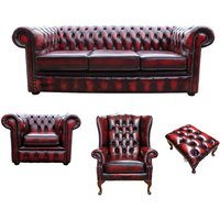 Chesterfield 3 Seater Sofa + Club Chair + Mallory Wing Chair + Footstool Leather Sofa Suite Offer Antique Oxblood