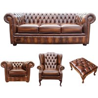 Designer Sofas 4 U - Chesterfield 3 Seater Sofa + Club Chair + Mallory Wing Chair + Footstool Leather Sofa Suite Offer Antique Tan