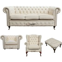 Chesterfield 3 Seater Sofa + Club Chair + Mallory Wing Chair + Footstool Leather Sofa Suite Offer Ivory - DESIGNER SOFAS 4 U