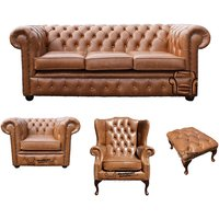 Chesterfield 3 Seater Sofa + Club Chair + Mallory Wing Chair + Footstool Old English Tan Leather Sofa Offer - DESIGNER SOFAS 4 U
