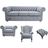 Chesterfield 3 Seater Sofa + Club Chair + Mallory Wing Chair+Footstool Verity Plain Steel Fabric Sofa Suite Offer