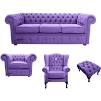 Chesterfield 3 Seater Sofa + Club Chair + Mallory Wing Chair+Footstool Verity Purple Fabric Sofa Suite Offer