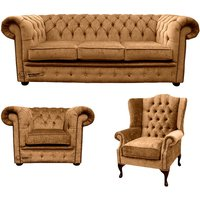 Chesterfield 3 Seater Sofa + Club Chair + Mallory Wing Chair Harmony Gold Velvet Sofa Suite Offer - DESIGNER SOFAS 4 U