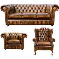 Chesterfield 3 Seater Sofa + Club Chair + Mallory Wing Chair Leather Sofa Suite Offer Antique Gold