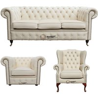 Chesterfield 3 Seater Sofa + Club Chair + Mallory Wing Chair Leather Sofa Suite Offer Ivory