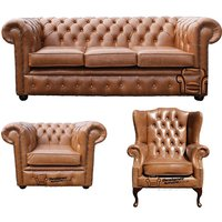 Designer Sofas 4 U - Chesterfield 3 Seater Sofa + Club Chair + Mallory Wing Chair Old English Tan Leather Sofa Offer