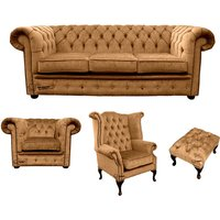 Chesterfield 3 Seater Sofa + Club Chair + Queen anne chair+Footstool Harmony Gold Velvet Sofa Suite Offer - DESIGNER SOFAS 4 U