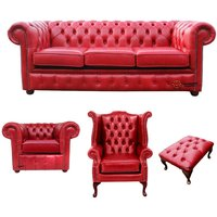 Designer Sofas 4 U - Chesterfield 3 Seater Sofa + Club Chair + Queen Anne Chair + Footstool Old English Gamay Red Leather Sofa Offer