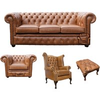 Designer Sofas 4 U - Chesterfield 3 Seater Sofa + Club Chair + Queen Anne Chair + Footstool Old English Tan Leather Sofa Offer