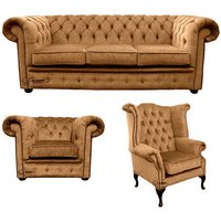 Chesterfield 3 Seater Sofa + Club Chair + Queen anne chair Harmony Gold Velvet Sofa Suite Offer